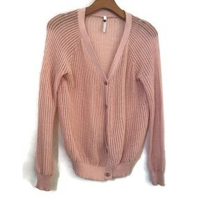 Poof! Blush open knit pink cardigan Small